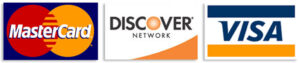 Master Card, Visa, Discover accepted
